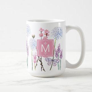 Ihr Anfangs| rosa Watercolor-personalisierter Kaffeetasse