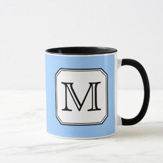 Ihr Brief. Kundenspezifisches Monogramm. Blaues Tasse