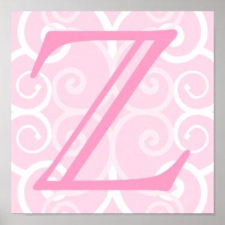 Ihr Brief. Kundenspezifisches rosa Strudel-Monogra Poster