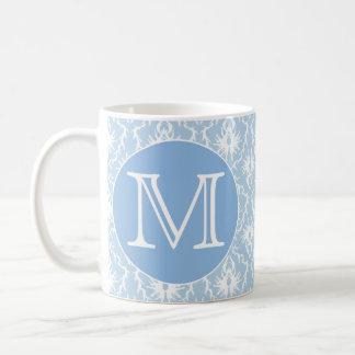 Ihr Brief, Monogramm. Hellblaues Damast-Muster Kaffeetasse