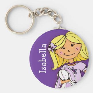 Ihr Buchstabe-Mädchen des Namens 8 blondes lila ke Standard Runder Schlüsselanhänger