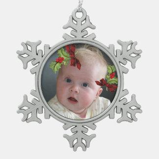 Ihr Foto auf Schneeflocken Zinn-Ornament