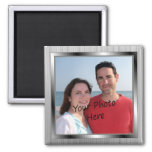Ihr Foto auf silbernem gerahmtem Magneten Magnete