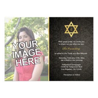 Ihr Foto - eleganter Schläger Mitzvah lädt ein Personalisierte Einladungskarten