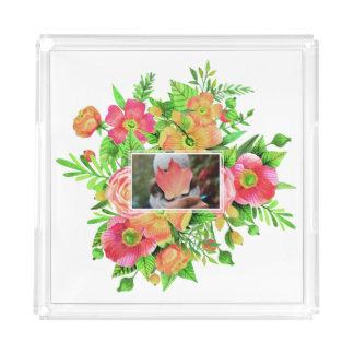 Ihr Foto in den Blumen-Feld-Serviertabletten Acryl Tablett