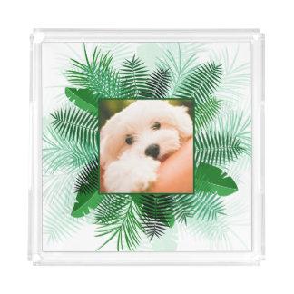 Ihr Foto in den Palmblatt-Feld-Serviertabletten Acryl Tablett