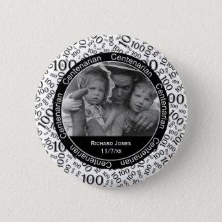 Ihr Foto - Schwarz-/weißeshundertjähriges Gedenk Runder Button 5,7 Cm