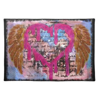 Ihr Herz gebend, Wings Mischmedium-Tischset Stofftischset