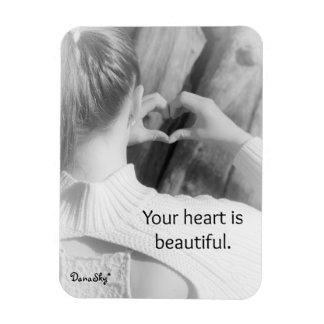 """""""Ihr Herz ist schöner"""" schwarzer/weißer Magnet"""