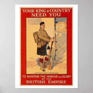 Ihr König-und Land-Bedarf Sie, Britisches Imperium Poster