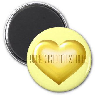 Ihr kundenspezifisches Textgoldglasherz Runder Magnet 5,7 Cm