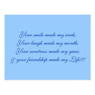 Ihr Lächeln machte meine Woche; Ihr Lachen machte Postkarte