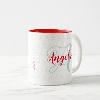 ihr mit Monogramm Name/Monogramm Zweifarbige Tasse