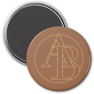 """Ihr Monogramm """"A&B"""" auf """"gefror Kaffee"""" Runder Magnet 7,6 Cm"""