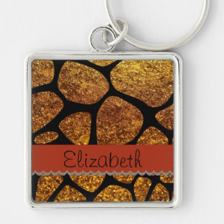 Ihr Name - Tierdruck-Giraffe, Glitter - Gold Schlüsselanhänger