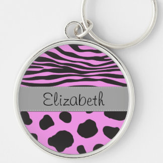 Ihr Name - Tierdruck, Kuh, Zebra - rosa Grau Silberfarbener Runder Schlüsselanhänger