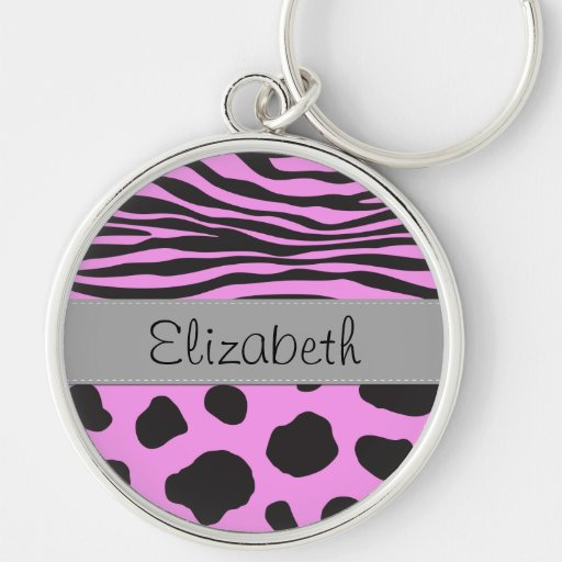 Ihr Name - Tierdruck, Kuh, Zebra - rosa Grau Schlüsselbänder