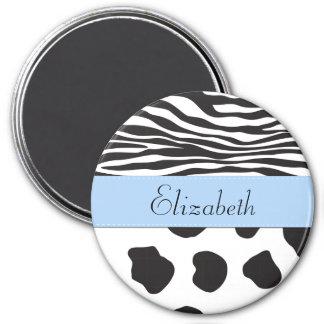 Ihr Name - Tierdruck, Kuh, Zebra - Schwarz-weiß Runder Magnet 7,6 Cm