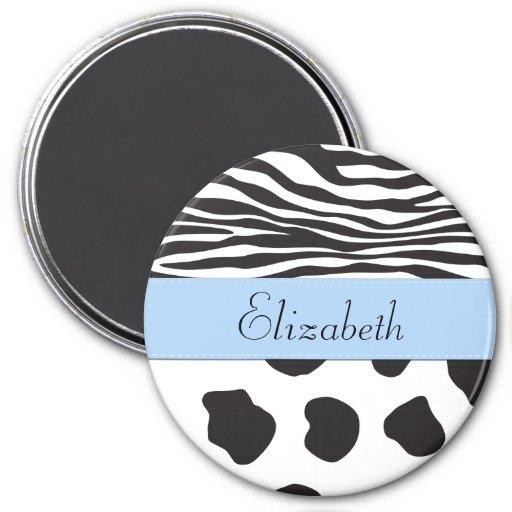 Ihr Name - Tierdruck, Kuh, Zebra - schwarzes Blau Magnete