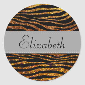 Ihr Name - Tierdruck, Zebra, Glitter - Gold Runder Aufkleber