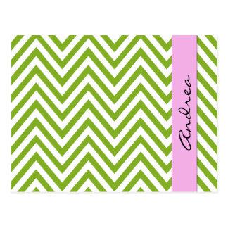 Ihr Name - Zickzack-Muster, Zickzack - weißes Grün Postkarte