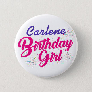 (Ihr Namen-) Geburtstags-Mädchen Runder Button 5,1 Cm