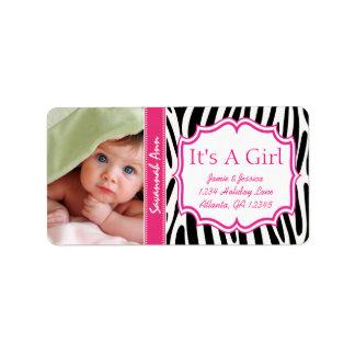 Ihr sein Foto-neues Baby ein Mädchen ROSA Trendy Adressaufkleber