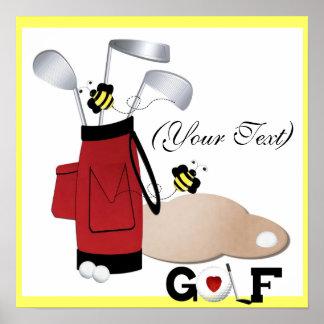 (Ihr Text-) Golf-Leinwand Poster