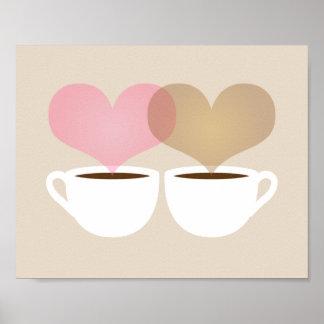 Ihr und meine Kaffeetassen im Liebe-Kunst-Druck Poster