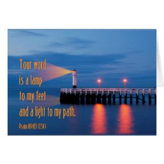Ihr Wort ist ein Licht-Psalm-119:105 Bibel-Vers Karte