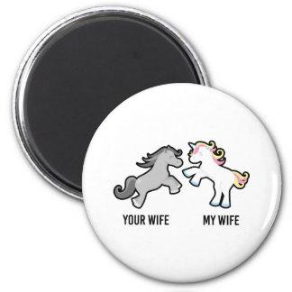 Ihre Ehefrau mein EhefrauUnicorn Runder Magnet 5,1 Cm