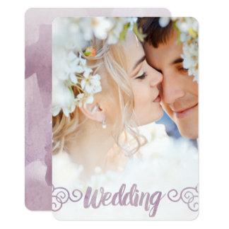 Ihre Foto-Lavendelwatercolor-Hochzeit 11,4 X 15,9 Cm Einladungskarte