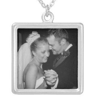 Ihre Hochzeits-Foto-Sterlingsilber-Halskette Halskette Mit Quadratischem Anhänger