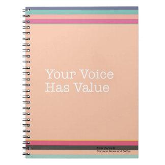 Ihre Stimme hat Wert-Notizbuch Notizblock