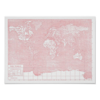 Ihre Welt~ Rosa-Vintage Weltkarte Poster