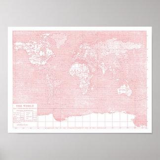 Ihre Welt~ Rosa-Vintage Weltkarte Plakat