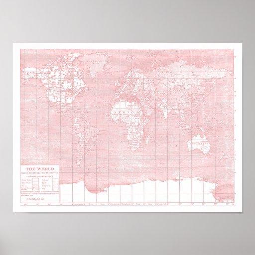 ihre welt rosa vintage weltkarte poster zazzle. Black Bedroom Furniture Sets. Home Design Ideas