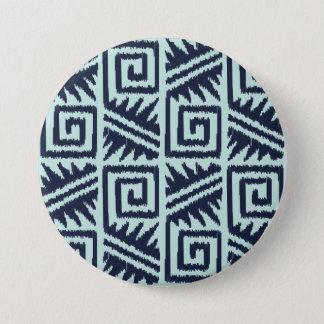 Ikat aztekisches Muster - Indigo und hellblaues Runder Button 7,6 Cm