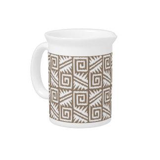 Ikat aztekisches Muster - Taupe TAN und Creme Getränke Pitcher