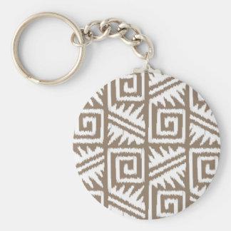Ikat aztekisches Muster - Taupe TAN und Creme Schlüsselanhänger