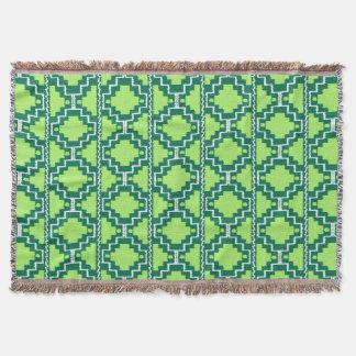 Ikat aztekisches Muster - Wald und Limones Grün Decke