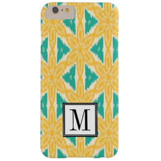 Ikat Druck-Gelb und aquamarines Anfangsmonogramm Barely There iPhone 6 Plus Hülle