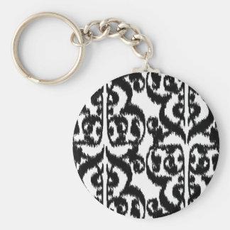 Ikat maurischer Damast - Schwarzweiss Schlüsselanhänger