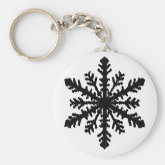 Ikat Schneeflocke - Weiß und Schwarzes Schlüsselanhänger
