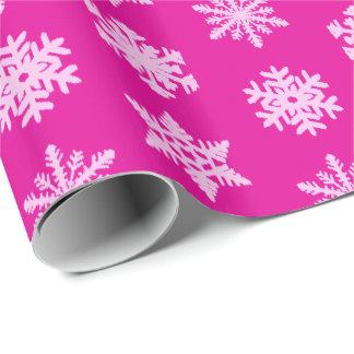 Ikat Schneeflocken - Fuchsien- und Eisrosa Geschenkpapier