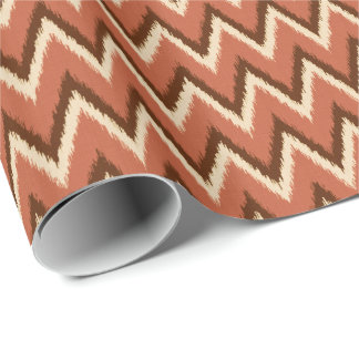 Ikat Zickzack Streifen - Rost, Brown und Beige Geschenkpapier