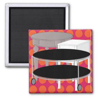 Ikea-Möbel legen orange Magneten ver Quadratischer Magnet