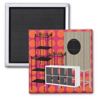Ikea-Möbel legen roten Magneten beiseite Quadratischer Magnet