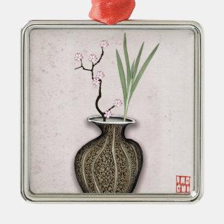 Ikebana 2 durch tony fernandes quadratisches silberfarbenes ornament