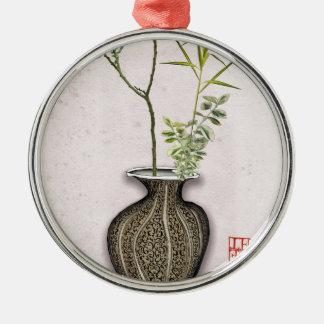 Ikebana 6 durch tony fernandes rundes silberfarbenes ornament